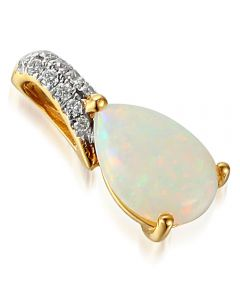 18ct Gold Pear Opal and Diamond Pendant PEN49763/5-OP