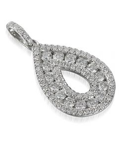 18ct White Gold Diamond Open Pear Pendant PEN44565/52