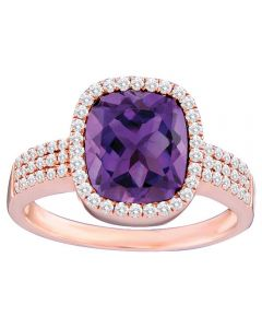 14ct Rose Gold Cushion-cut Amethyst and Diamond Cluster Ring SKR11996 14ct M