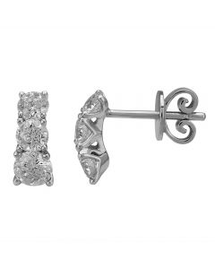 Mastercut Simplicity Four Claw 18ct White Gold 1.00ct Diamond Dropper Earrings C5ER002 100W