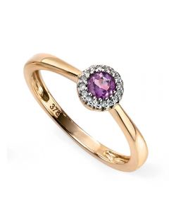 9ct Gold Diamond Amethyst Cluster Ring GR473M