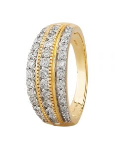 9ct Yellow Gold 1.00ct Diamond Multi-set Three Row Ring SKR18910-100 YG