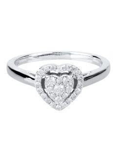 9ct White Gold 0.25ct Diamond Heart Cluster Ring THR10927-25