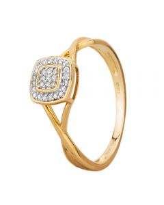 9ct Yellow Gold 0.05ct Diamond Pavé Square Cluster Promise Ring SKR19766-05 9KY