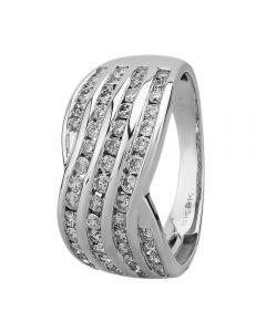 9ct White Gold 1.00ct Diamond Channel-Set Multi Wave Ring THR20789-100Ch