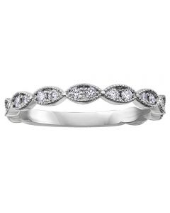 9ct White Gold 0.20ct Diamond Ellipse Half Eternity Ring 50J51WG/20-10
