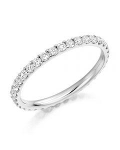 Platinum 0.75ct Claw Set Round Brilliant Full Eternity Ring FET1022 PLAT