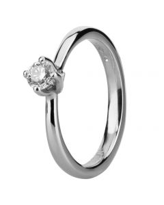 Platinum Four Claw Twist Diamond Solitaire Ring RI-1153 (.33CT PLUS)- F/SI1/0.33ct