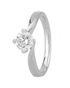 1888 Collection Platinum Certificated Four Claw Twist Diamond Solitaire Ring RI-1027(.70CT PLUS)