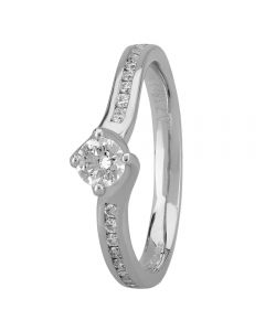 1888 Collection Platinum Certificated Four Claw Twist Diamond Solitaire Ring RI-1191(.25CT PLUS)