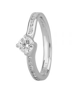 1888 Collection Platinum Certificated Four Claw Twist Diamond Solitaire Ring RI-1191(.33CT PLUS)