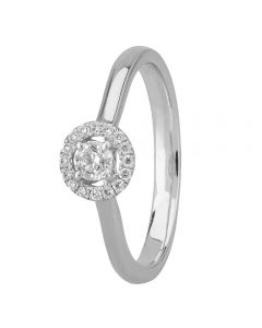 1888 Collection Platinum Certificated Diamond Floating Halo Cluster Ring DSR21(.15CT PLUS)