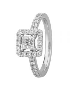 1888 Collection Platinum Certificated Princess-cut Diamond Cluster Ring DSC53(4.5)0.50CT PLUS
