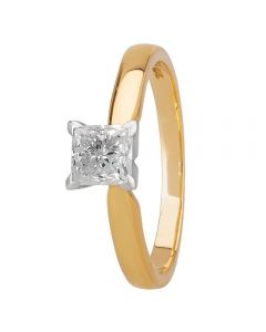 1888 Collection 18ct Gold Certificated Princess-cut Deep V Diamond Solitaire Ring M94-B3(.70CT PLUS)