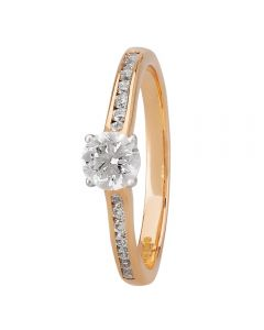 1888 Collection 18ct Rose Gold Certificated Four Claw Diamond Solitaire Ring RI-138(.40CT PLUS)
