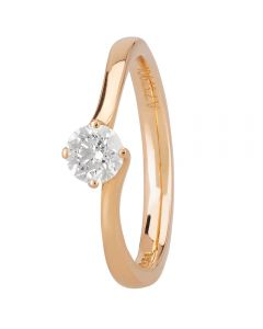 1888 Collection 18ct Rose Gold Certificated Four Claw Twist Diamond Solitaire Ring RI-137(.40CT PLUS)