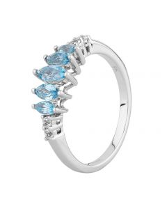 9ct White Gold Graduated Marquise Blue Topaz Ring BSR10640SBT