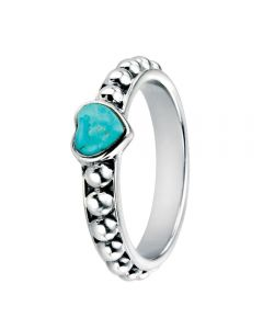 Silver Turquoise Cubic Zirconia Heart Ring R3447T
