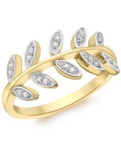 9ct Gold Cubic Zirconia Leaves Ring 1.84.8909