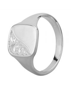 Sterling Silver Half Engraved Cushion Signet Ring YSG025H ENG V