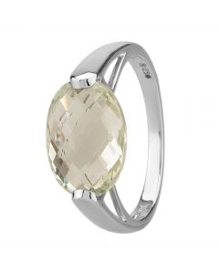 9ct White Gold Faceted Oval Green Amethyst Dress Ring 9DR358/GAM/W/P