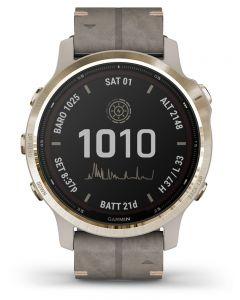 Garmin Fenix 6S Pro Solar Edition Light Gold Shale Grey Suede Strap Watch 010-02409-26