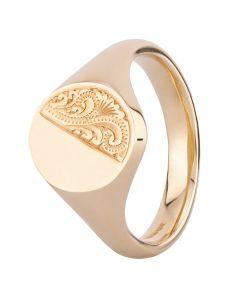 9ct Gold Mens Half Engraved Oval Signet Ring FSR1-14X12