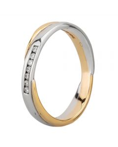 9ct Two Tone Gold 4mm Channel-set Diamond Crossover Wedding Ring 6962/9WY/D