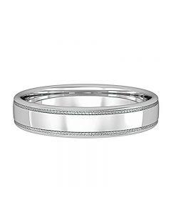 9ct White Gold 4mm Lattice Edge Court Ring R94C792