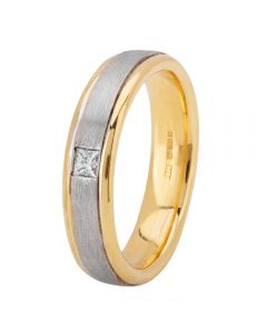 18ct Two Colour Gold Flat Court Satin and Polished Diamond-Set Wedding Ring XD556 18K