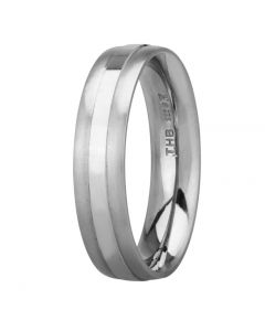 Palladium 5.0mm Court Satin and Polished Wedding Ring BFC5.0/F25 PALL