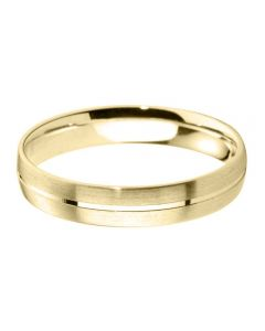 9ct Gold 6.0mm Flat Court Brushed and Polished Wedding Ring BFC6.0/F05 9Y