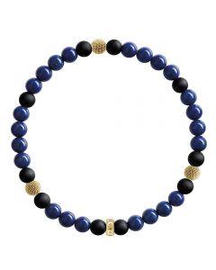 THOMAS SABO Gold Plated Black Blue Beaded Bracelet A1529-931-32-L17
