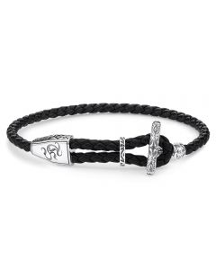 THOMAS SABO Sterling Silver Oxidized Black Leather Ornament T-Bar Bracelet A1859-682-11-L25V