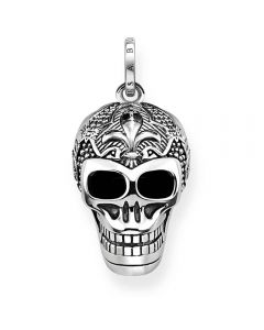Thomas Sabo Sterling Silver Oxidized Lily Skull Pendant PE771-637-21