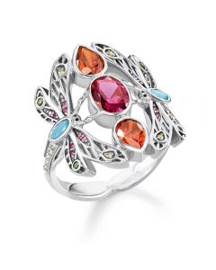 THOMAS SABO Sterling Silver Multistone Dragonfly Ring TR2228-340-7