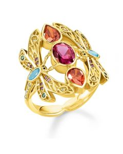 Thomas Sabo Gold Plated Mluli-stone Dragonfly Ring  TR2228-471-7