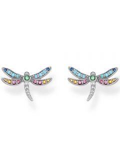 Thomas Sabo Sterling Silver Mutlistone Dragonfly Stud Earrings H2051-314-7