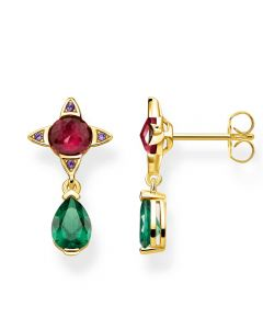 Thomas Sabo Gold Plated Magic Stones Red and Green Droplet Earrings H2073-973-7