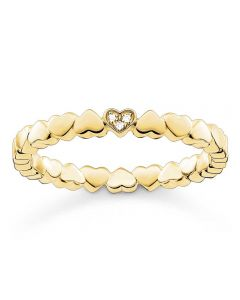 Thomas Sabo Gold Tone Diamond Heart Band Ring D_TR0013-924-14