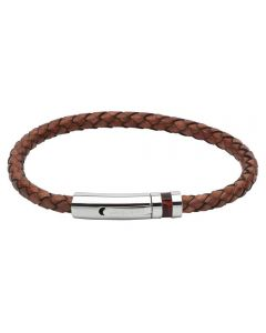 Unique Mens Brown Leather and Stainless Steel Braided Bracelet B346AB/21CM