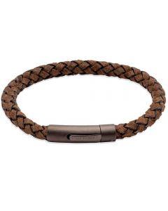 Unique Coconut Brown Leather & Gunmetal Steel Clasp 21cm Bracelet B450CO/21CM