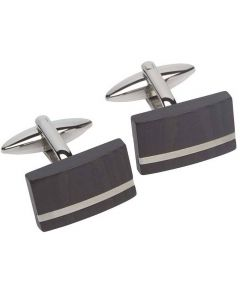 Unique Stainless Steel Carbon Black Oblong Cufflinks QC-188