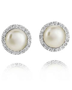 Jersey Pearl Freshwater Pearl Cubic Zirconia Cluster Earrings AME4