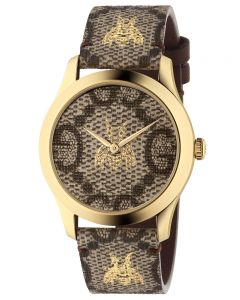 Gucci Ladies G-Timeless Gold Bee GG Brown Dial Leather Strap Watch YA1264068