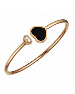 Chopard Happy Hearts 18ct Rose Gold Onyx Diamond Bangle 857482-5203 (M)