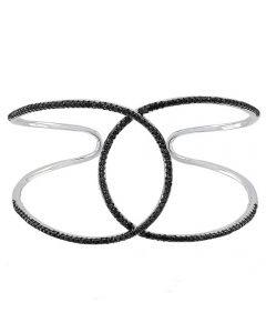 Sif Jakobs Ladies Rhodium Plated 'Fucino Grande' Crossover Black Cubic Zirconia Open Cuff Bangle SJ-BG0062-BK