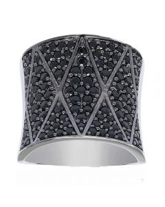 Sif Jakobs Ladies Rhodium Plated 'Pecetto Grande' Black Cubic Zirconia Zigzag Ring SJ-R11066-B