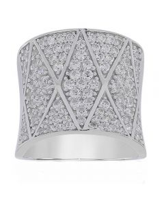 Sif Jakobs Ladies Rhodium Plated 'Pecetto Grande' White Cubic Zirconia Zigzag Ring SJ-R11066-CZ