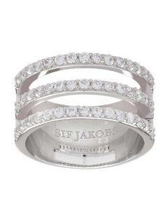 Sif Jakobs Ladies Rhodium Plated 'Siena Tre' Triple Row White Cubic Zirconia Ring SJ-R11000-CZ
